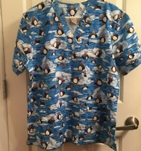 Penguins on Ice Winter Wonderland Women#x27;s Scrub Small 100% Cotton