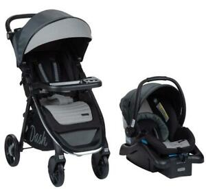 Baby Travel System Infant Stroller And Safety Car Seat Combo Gray Pinstripe NEW