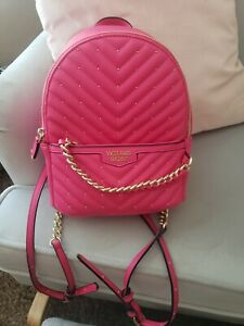 VICTORIA SECRET HOT PINK BACKPACK V QUILT SMALL CITY PURSE MATCHING WALLET