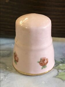 """Thimble Ceramic Pottery Pink With Red Roses 1"""""""