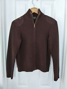 Ladies Lauren Ralph Lauren Brown Jacket Sweater Full Zip Cotton Women#x27;s Small