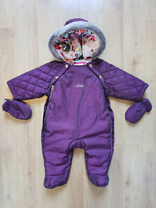 TED BAKER Girls Hooded Snowsuit and Mittens 0 3 Months Plum Faux Fur GBP 34.00