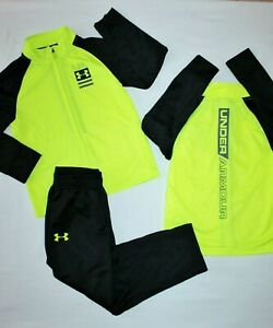 BOYS UNDER ARMOUR TRACKSUIT..FULL ZIP POCKETS SOFT LINING..YELLOW BLACK..NEW TAG $22.99