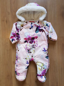 TED BAKER Girls Hooded Snowsuit 3 6 Months Floral Owl GBP 24.00