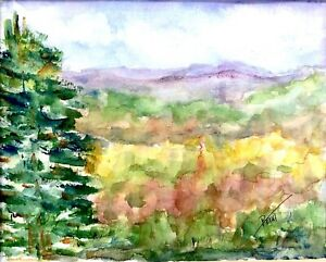 ORIGINAL Watercolor Painting IMPRESSIONISM MOUNTAINS TREES Blue Sky $16.25