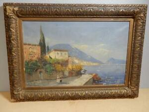 Antique Painting Oil on Canvas Seaside European Village Wagner R? 28 1 2 x 21 $100.00