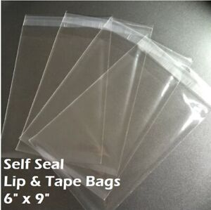 6quot; x 9quot; Clear Recloseable Self Seal Adhesive Lip amp; Tape Plastic Cello Bags
