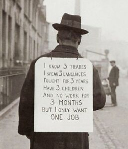Man Job Hunting with Sign during The Great Depression 8quot;x 10quot; Photo 41