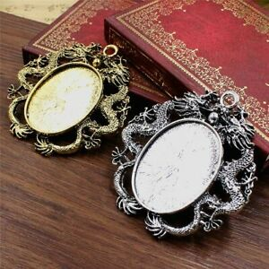 Pendant Tray Dragon Oval Cameo Glass Cabochon Frame Bezel Settings Antique Kit $8.25