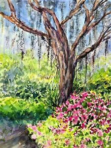 ORIGINAL Watercolor Painting IMPRESSIONISM PINK FLOWERS TREE Green Bushes $33.80