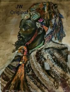 Original Painting African American Art Oil Pastels Acrylic Unframed Signed $295.00