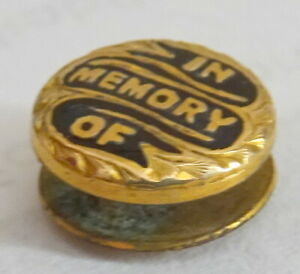 Antique Victorian In Memory of Miniature Enamel Stud original box GBP 40.00