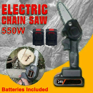 550W Mini One Hand Saw Woodworking Electric Rechargeable Chainsaw Wood Cutter $65.54