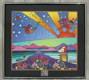 Contemporary Modern Framed Poster Signed Peter Max w Stamps 1992 COA $800.00