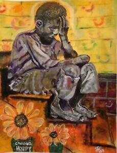 Original Painting African American Art Oil Pastels Acrylic Unframed Signed $250.00