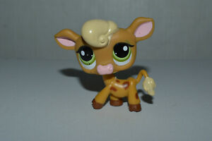 Littlest Pet Shop #1833 Cow Brown Spotted Yellow Hair Green Dot Eyes $9.99