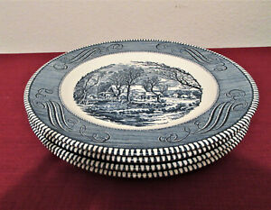 """Currier and Ives """"The Old Grist Mill"""" 10"""" Dinner Plate Vtg Set of Four $25.00"""