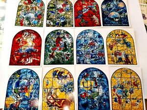 THE JERUSALEM WINDOWS Marc Chagall Original postcard Lithograph 12pcs 1962 $23.90