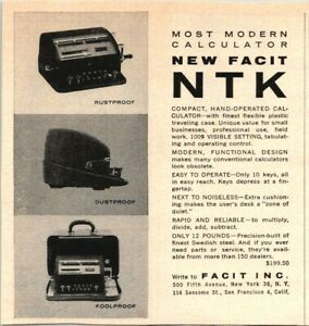 Facit NTK Most Modern Calculator Compact Office Machine 1954 Vintage Print Ad $12.00