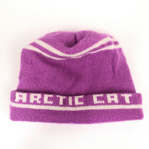 Vintage Arctic Cat roll up winter hat pink with white stripes couple hbw8