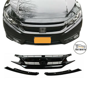 Gloss Black Front Grille Grill Eyelid for 2016 2017 2018 Honda Civic Coupe Sedan $59.99