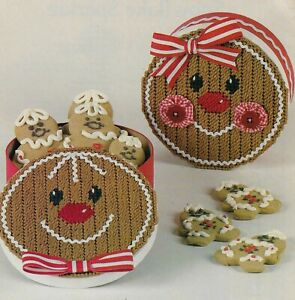 GINGERBREAD GIFT BOXES CHRISTMAS PLASTIC CANVAS PATTERN INSTRUCTIONS HTF $3.50