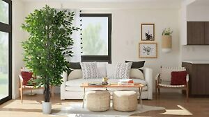 Beautiful Ficus Artificial Fake Tree 6.5#x27; w Green Silk Leaves Natural Trunk $43.45