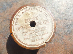 Vintage JS Johnson Co Best Line Made From Scotch Flax Fishing Line On Wood Spool