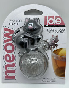 Joie Meow Black Kitty Cat Tea Cup Infuser Stainless Steel Loose Tea Strainer NEW $9.99