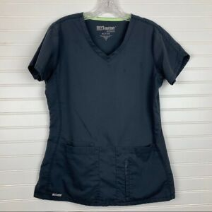 Grey's Anatomy by Barco Soft Active Charcoal Grey Scrub Top Small STAINED