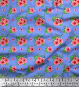 Soimoi Blue Cotton Poplin Fabric Monstera Leaf amp; Floral Print Sewing of0 $9.99