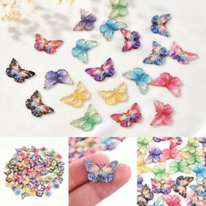 Colorful Resin Butterfly Charms Pendant DIY Making Necklace Jewelry Craft 10Pcs. C $2.49