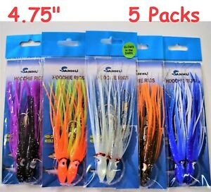 5 Packs 4.75quot; Rigged Hoochie Squid Skirts Octopus Trolling Lures Random colors