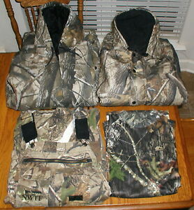 Lot of 4 Men#x27;s Hunting Clothes Camo Jackets Bib Overalls Shirt All Size M