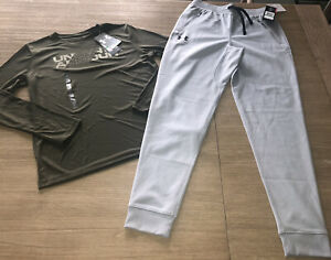 NEW NWT Boys UNDER ARMOUR Long Sleeve Top Gray Pennant Jogger Pants RV $65 XMAS $36.00