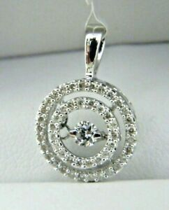 Double Circle Floating Diamond Pendant IN 14k White Gold . DIA 0.35 Tcw.