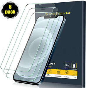 6 PACK For iPhone 12 11 Pro Max XR X XS 8 7 6 Tempered GLASS Screen Protector