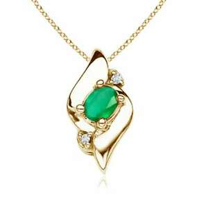 Shell Style Emerald amp; Diamond Pendant Necklace Silver Gold Platinum 18quot; Chain