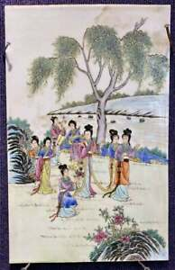 Chinese Antique porcelain Plaque 8 ladies wall hanging $165.00