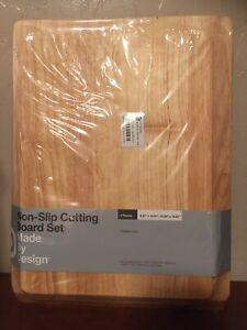 2pc Nonslip Poly Cutting Board Set Rubberwood Made By Design $18.00