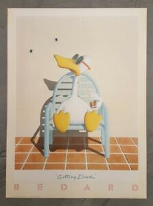 Original 1982 Sitting Duck by Michael Bedard Vintage Lithograph Art Poster Large $150.00