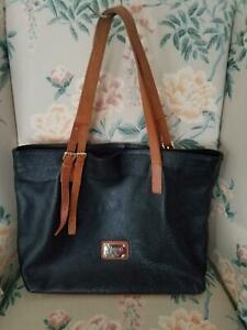 VALENTINA LARGE ITALIAN LEATHER TOTE SHOULDER BAG BLACK WITH TAN ACCENTS