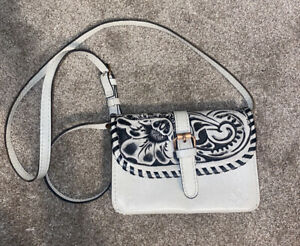 Patricia Nash Vintage White Washed Small Crossbody Italian Leather
