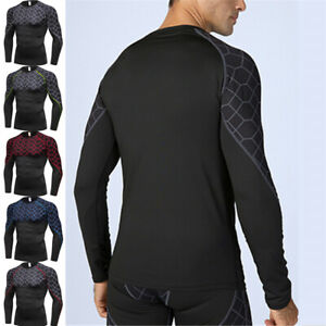 Mens Long Sleeve Printed Base Layer Compression Quick Dry Shirt Gym Workout Tee $15.49