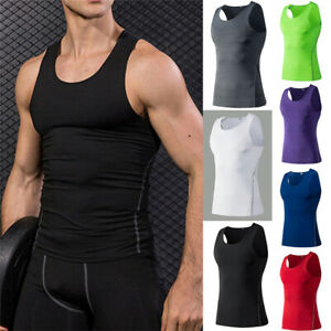 Mens Compression Workout Gym Running Cool Dry Tank Top Solid Stretchy new $13.99