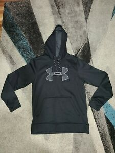 Mens Black Under Armour Pullover Hoodie Sweatshirt Size Small * SM P* Loose Fit $14.99