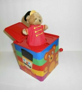 FAO Schwarz Bear In A Box Jack In The Box Metal Box Toy 5.5 x 5.25 $38.00