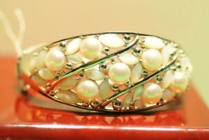 Beautiful Sterling White Bead Bangle Bracelet Faux Pearls Signed H China