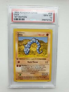 Pokemon Cards Psa 10 Onix 56 102 1st Edition Base Set GBP 399.99