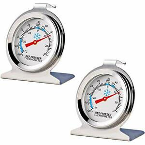 2 Pack Refrigerator Freezer Thermometer Large Dial With Instant Read NEW $5.37